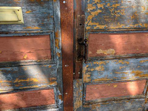 old doors rust peeling paint